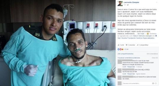 Jogador do Chapecoense recebe visita de policial que o resgatou