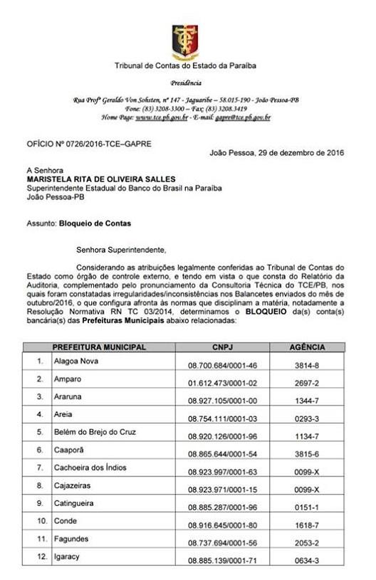 TCE-PB bloqueia contas das prefeituras de Santa Rita, Conde e mais 24 cidades