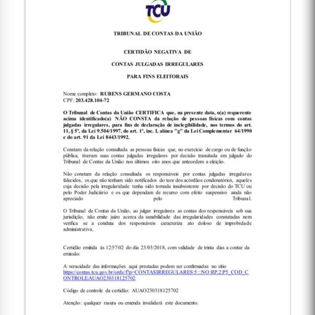 TCU emite certidão negando que o deputado Buba Germano teve contas rejeitadas; veja documento