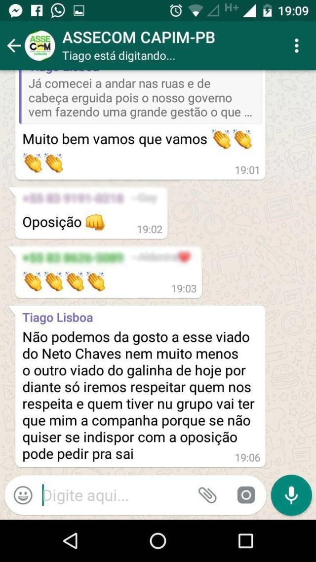 """Confusão na internet: prefeito de Capim chama vereadores e ex-prefeito de """"viados""""; ouça"""