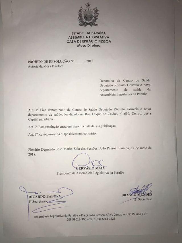 Homenagem: Novo Centro de Saúde da Assembleia vai se chamar Rômulo Gouveia