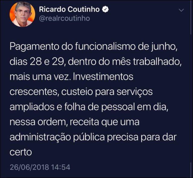Ricardo usa as redes sociais para divulgar data do pagamento de junho dos servidores estaduais