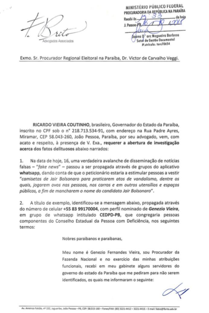 WhatsApp Image 2018 10 16 at 17.03.49 - RC pede ao MPF abertura de investigação contra procurador da Fazenda por disseminar fake news