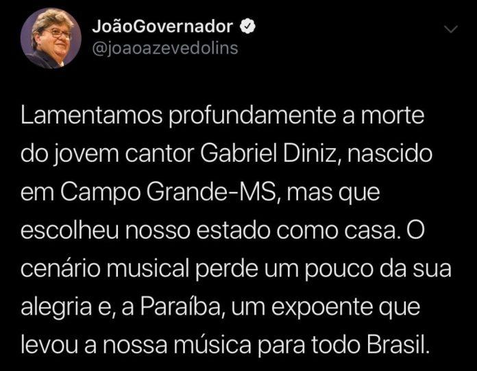 João Azevêdo usa as redes sociais para lamenta morte de Gabriel Diniz