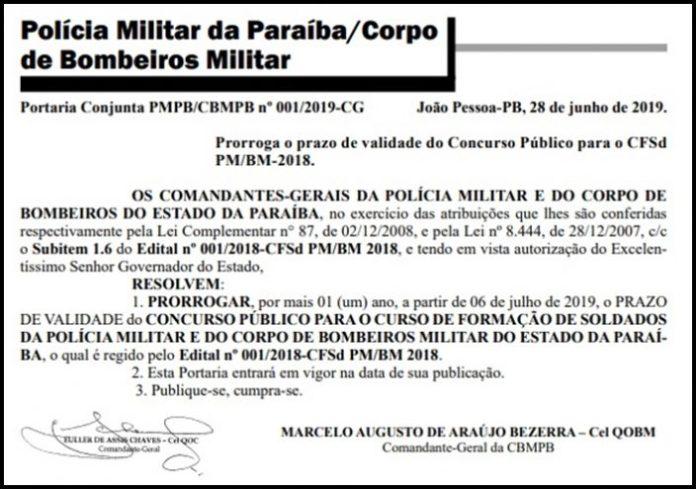 João autoriza a prorrogação do concurso de soldados da PM e Bombeiros