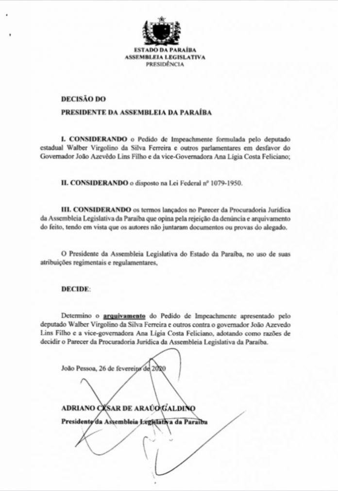 Presidente da ALPB determina arquivamento do pedido de impeachment contra João e Lígia