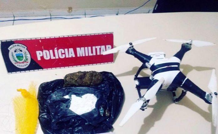 Em Mangabeira: Polícia apreende drone transportando maconha e cocaína