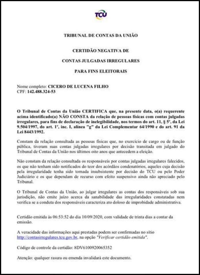 TCU emite certidão que garante a Cícero disputar a PMJP; veja documento