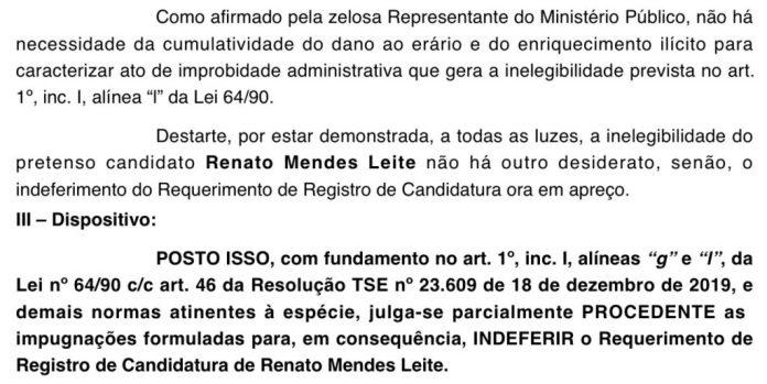 Reviravolta em Alhandra: Justiça Eleitoral indefere a candidatura de Renato Mendes