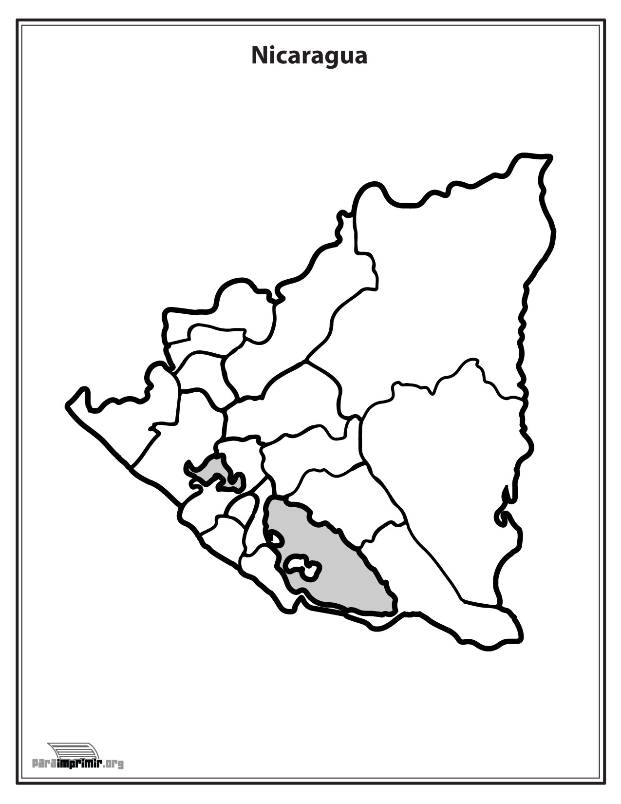 Mapa De Nicaragua Sin Nombres Para Imprimir