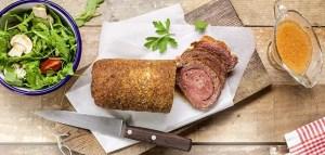 Rolo de Carne recheado com presunto