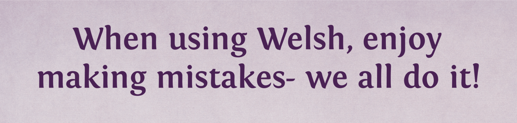 When using Welsh, enjoy making mistakes- we all do it