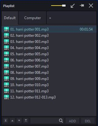 Screengrab of Potplayer- playlist