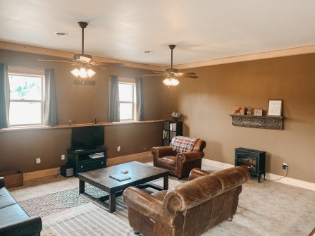 Cozy electric fire place makes this living room the best place to relax and unwind!