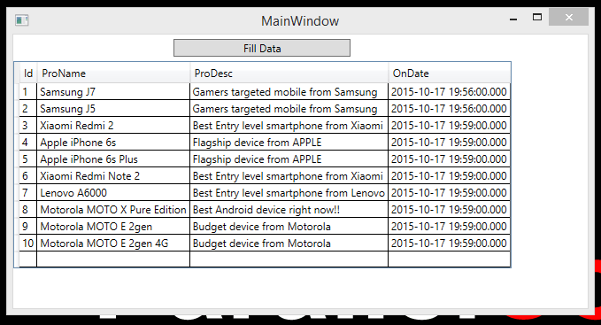 wpf datagrid from database