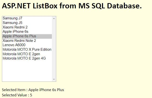 asp net listbox from sql database and selected item 01
