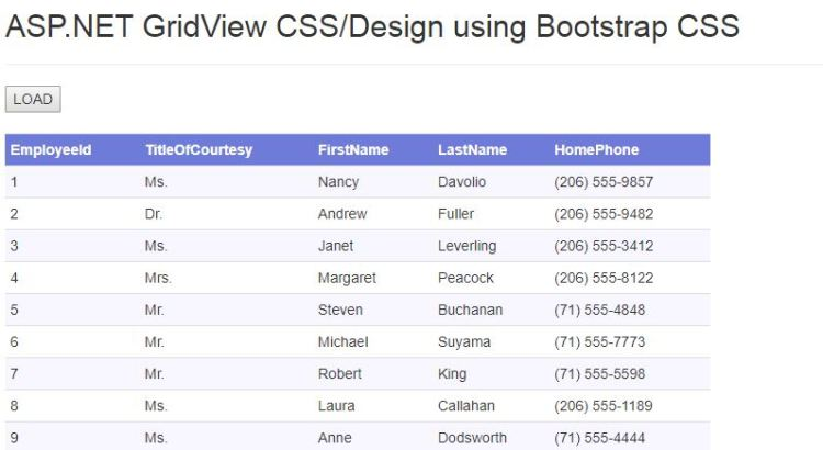ASP.NET Gridview css design using Bootstrap 01