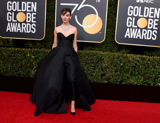 Alison Brie arrives at the 75th annual Golden Globe Awards at the Beverly Hilton Hotel on Sunday, Jan. 7, 2018, in Beverly Hills, Calif. (Photo by Jordan Strauss/Invision/AP)