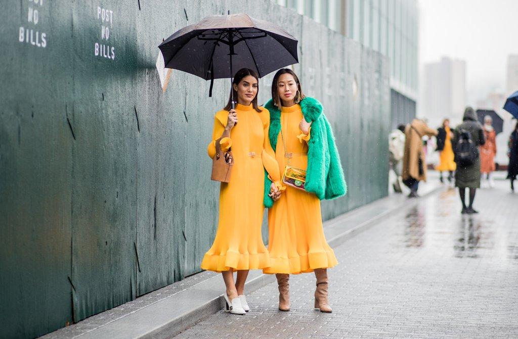 Camila-Coelho-Aimee-Song-both-wearing-same-yellow-Tibi-dress