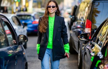 Mute-Electric-Neon-Sweater-Structured-Blazer-Pulled-Up-Sleeves