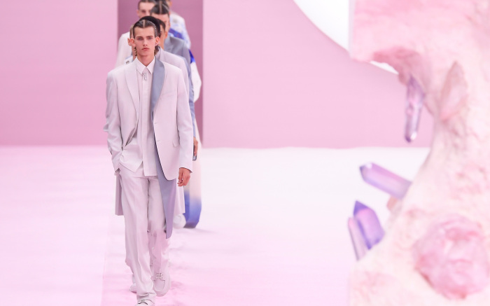 Mandatory Credit: Photo by WWD/Shutterstock (10311856ax) Models on the catwalk Dior Men show, Runway, Spring Summer 2020, Paris Fashion Week Men's, France - 21 Jun 2019