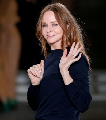 FILE PHOTO: British designer Stella McCartney appears at the end of her Fall/Winter 2017-2018 women's ready-to-wear collection show during the Paris Fashion Week, in Paris, France March 6, 2017. REUTERS/Benoit Tessier/File Photo