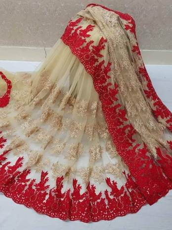 Net Saree With Heavy Embroidery