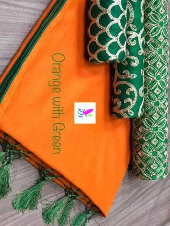 Chanderi Cotton Saree with 3 Blouses