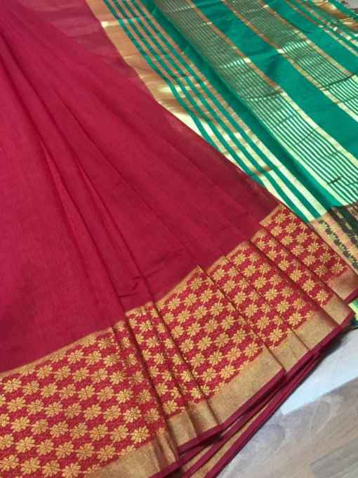 Red Chanderi Cotton Saree