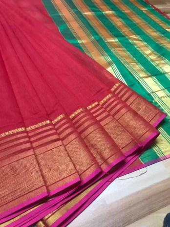 Red Chanderi Cotton Saree