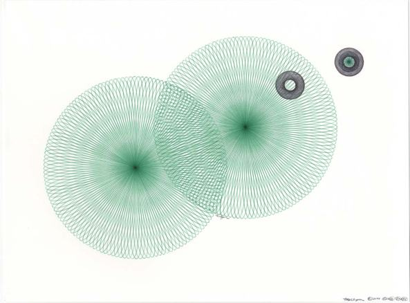 Rippling water drawing. Abstract green and black.