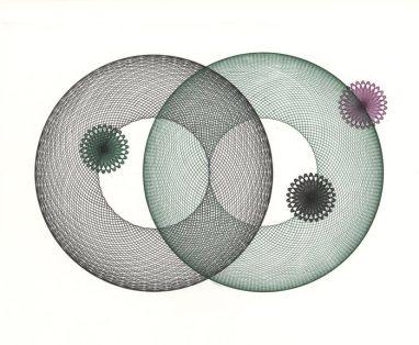 Two large circles, three smaller circles.
