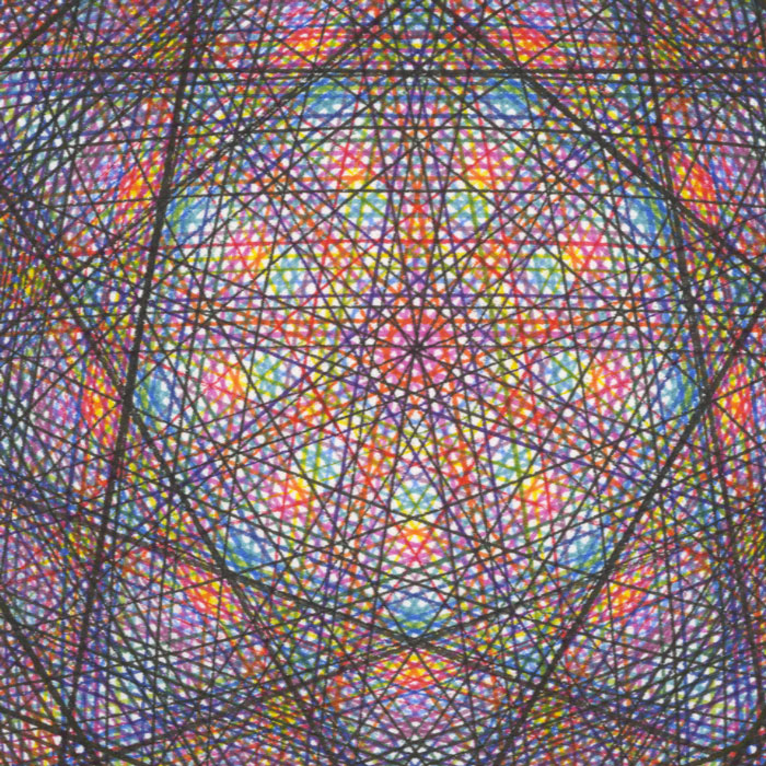 Multi-colored pigment ink lines cross-hatching in the center.