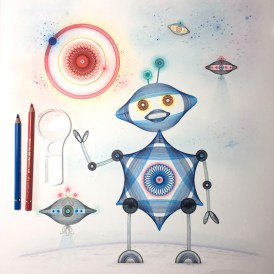 """""""Automata Robota"""", 20x16 inches, ink and color pencil on cotton paper. © 2017 Mary Wagner. All Rights Reserved."""