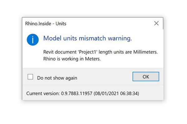 Rhino.Inside units mismatch warning