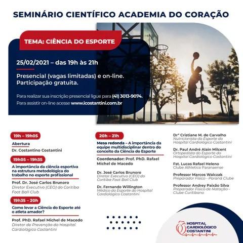 Hospital Cardiológico Costantini realiza evento gratuito e on-line sobre Ciência do Esporte