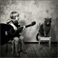 Gato + criança = reportagem fotográfica