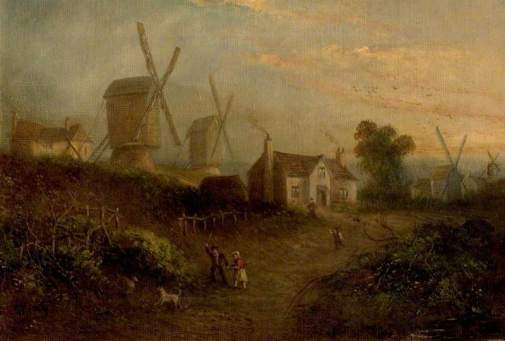 Moore, Thomas Cooper, 1827-1901; Mills and Gorse Bushes in Nottingham Forest