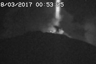 Italie : Un faisceau lumineux de 200 mètres de diamètre sort de l'ETNA. ET IL BOUGE