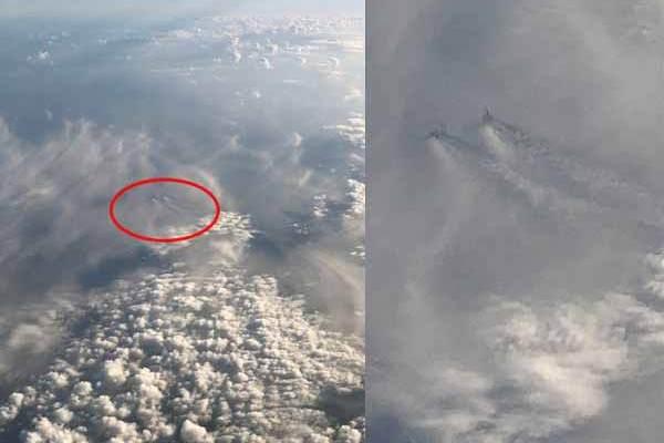 Deux OVNIs photographiés depuis un avion en Février 2018