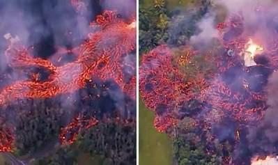 Vidéo: L'éruption du volcan hawaïen : Des images aériennes choquantes montrent le Mont Kilauea en train de cracher une FONTAINE DE LAVE