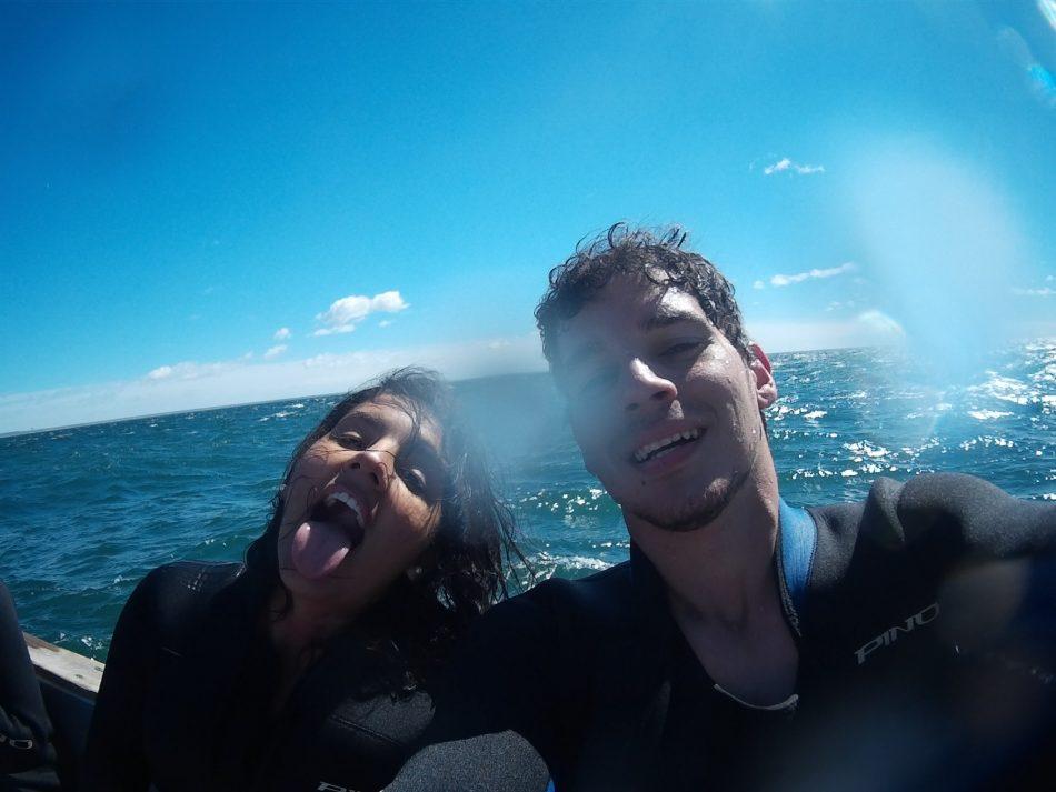 No barco a caminho da loberia