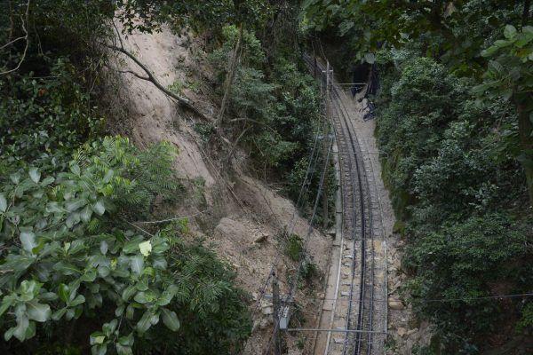 Deslizamentos de terra das chuvas que atingiram o Rio de Janeiro na semana passada próximo à estrada de ferro do Trem do Corcovado, único acesso ao Cristo Redentor.
