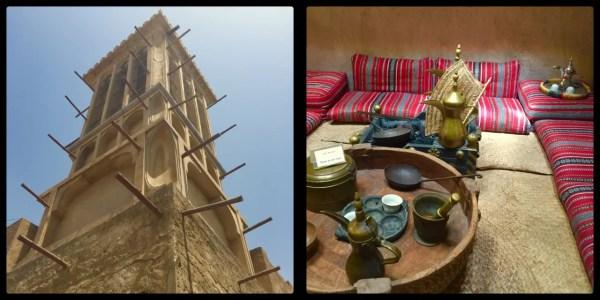 Wind Tower (Barjeel) cools the meeting room (Majlis) below. Al Fahidi Historical Neighbourhood. Dubai. UAE