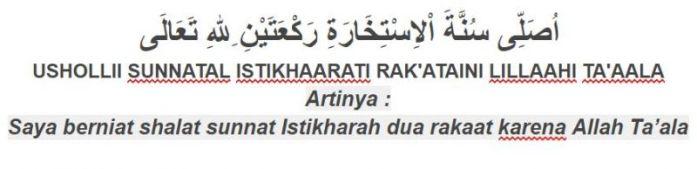 tuntunan sholat bacaan niat sholat sunnah istikharah