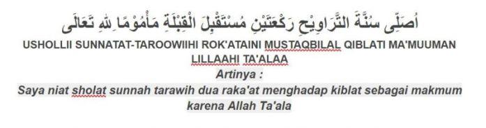 Tuntunan sholat bacaan niat sholat sunnah tarawih