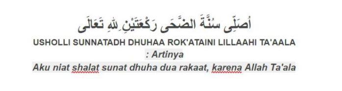 Tuntunan bacaan niat sholat sunnah dhuha