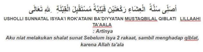 Tuntunan bacaan sholat sunnah qobliyah isya