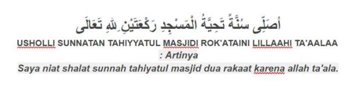 Tuntunan bacaan niat sholat sunnah tahiyatul masjid