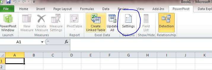Power Pivot Settings Excel